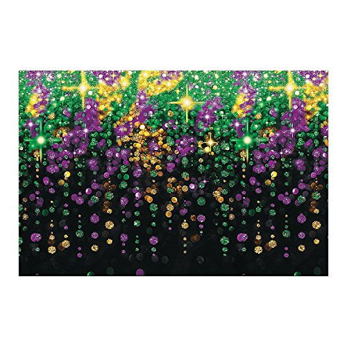 Fun Express Mardi Gras Party Decoration Beads Galore Backdrop ()