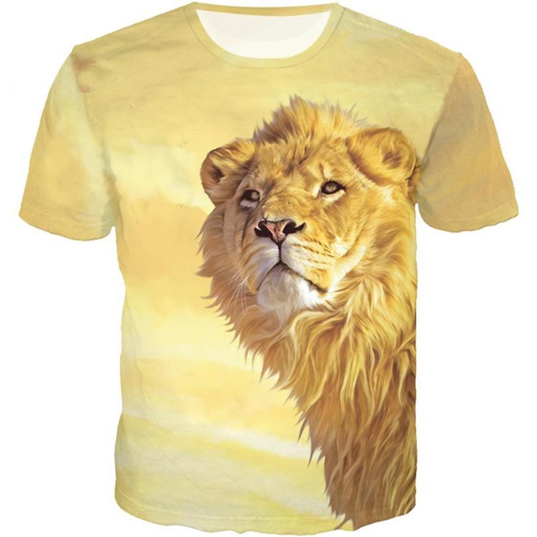 7278797d50 vermers Clearance Deals Mens Tees Shirt Fashion Lion 3D Printing Short  Sleeve T-Shirt Tops