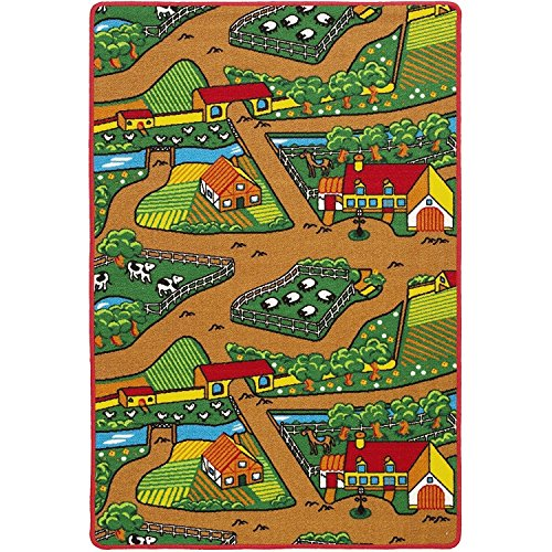 Fun Kid's Country Farm Life Mat Animal and Tractor Non-Slip Area Rug (3 Feet x 5 Feet) by Champion Rugs (Image #1)