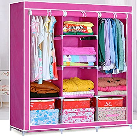 Generic Double Nonwoven Fabric Wardrobe Bedroom Clothes Storage Closet Organizer Shelves