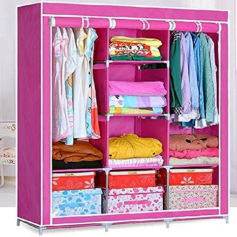 Generic Double Nonwoven Fabric Wardrobe Bedroom Clothes Storage Closet Organizer Shelves