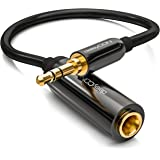 deleyCON 0,2m Stereo Audio Klinken Adapter Kabel - 3,5mm Klinken Stecker zu 6,3mm Klinken Buchse - vergoldete Klinke Stecker / Buchse – Schwarz