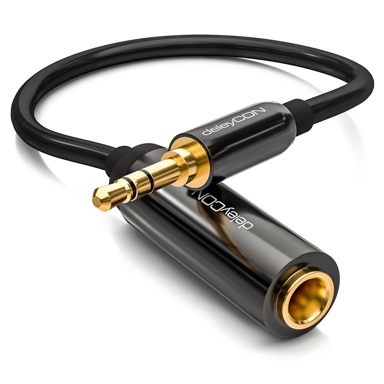deleyCON 0, 2m cable jack adaptador de audio estéreo – cable jack de 6, 3 mm a cable de vídeo jack de 3, 5mm – conector / cable de vídeo – negro 2m cable jack adaptador de audio estéreo - cable jack de 6 MK1158