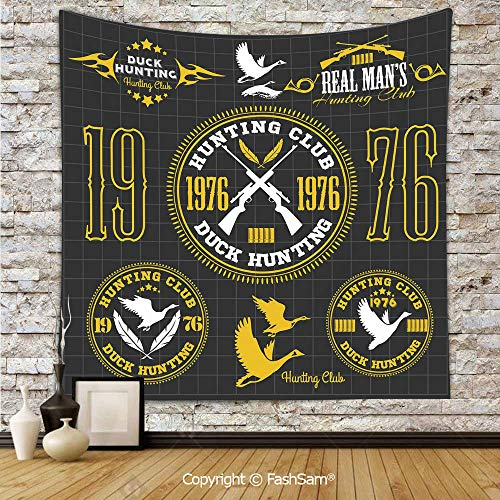 FashSam Tapestry Wall Hanging Vintage Club Emblem from 1976 Hobby of Duck Hunting Themed Labels Tapestries Dorm Living Room Bedroom(W59xL90) -