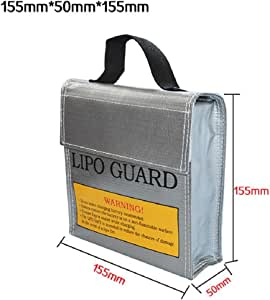 Lookatool LiPo Li-Po Battery Fireproof Safety Guard Safe Bag (15550155MM, Gray)