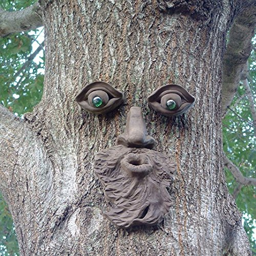 Garden Tree Face Sculpture - Funny Outdoor Yard Art Resin Tree Tank Beard Face Green Glass Eyes Face Statue Decoration - Home Ornament Xmas Decor Gift Resin Ornament Tree Trunk