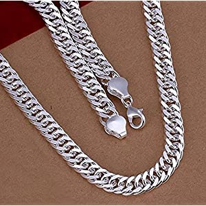 """Fashion Jewelry Men's 925 Sterling Silver 10MM 20"""" Curb Snake Chain Necklace by Tripmark"""