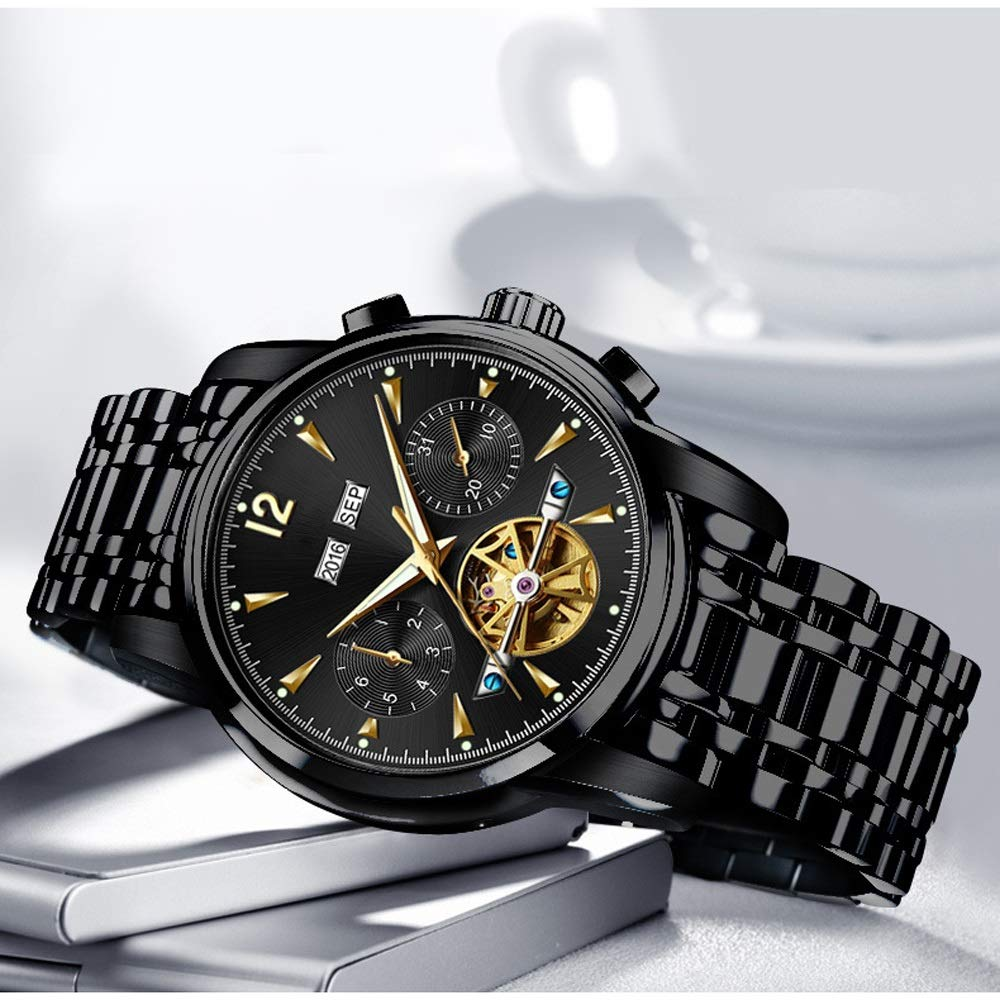 Klockklocka mekanisk automatisk klocka herr affärskalender vattentålig modeklocka för det dagliga livet JFYCUICAN 01svart