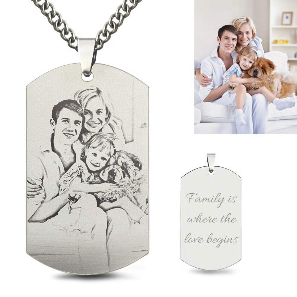 Ruofei Personalized Photo Engraved Black Titanium Steel Dog Tag Necklace for Father
