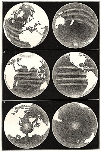 World  Earth Globe  Continents Seas Hemisphere Terrestrial Maritime Equator   1877   Old Print   Antique Print   Vintage Print   World Art Prints
