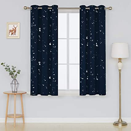 Deconovo Silver Dots Printed Navy Blue Blackout Grommet Curtains Bedroom  Curtains and Drapes for Boys Room 42 W x 63 L Navy Blue 2 Panels