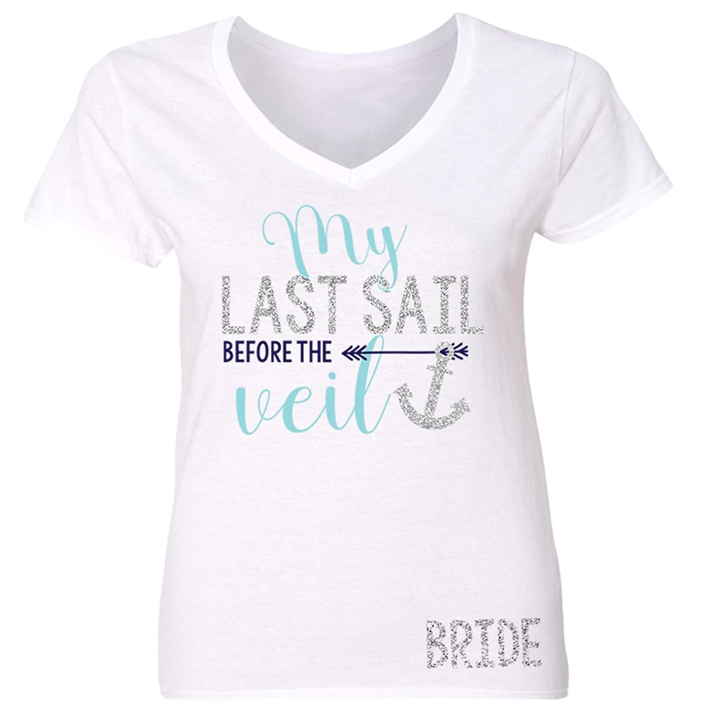 Bride Last Sail Before the Veil bachelorette shirt sparkly VNECK - white