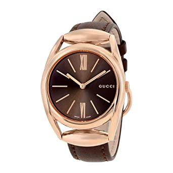 175f69c21e6 Image Unavailable. Image not available for. Color  Gucci Horsebit Brown  Dial Brown Leather Ladies Watch YA140408