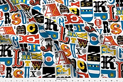 Spoonflower Alphabet Fabric - Alphabet Letters Typography Numbers Woodtype Letterpress Vintage - by Pennycandy Printed by The Yard