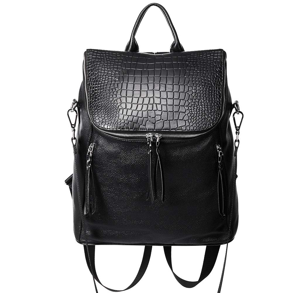 Genuine Leather Women Backpack Purse Fashion Large Designer Travel Ladies Shoulder Bag with Crocodile Flap Black