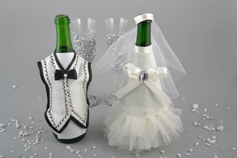 Decoracion para botellas de cava trajes de novios artesanal ...