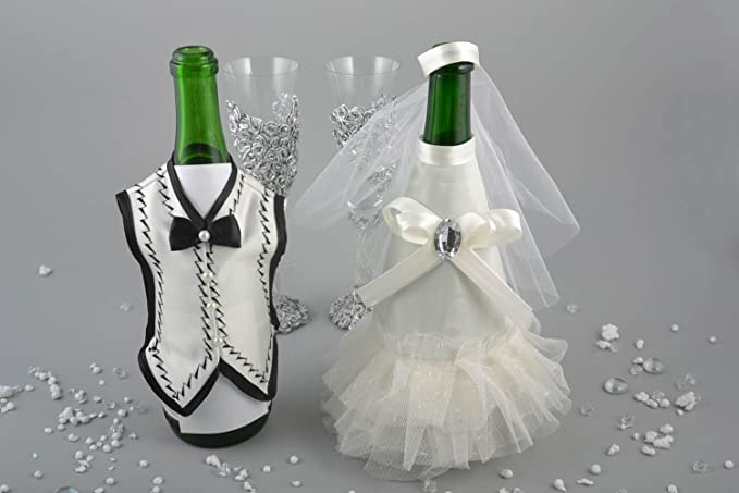 Decoracion para botellas de cava trajes de novios artesanal original accesorios: Amazon.es: Hogar