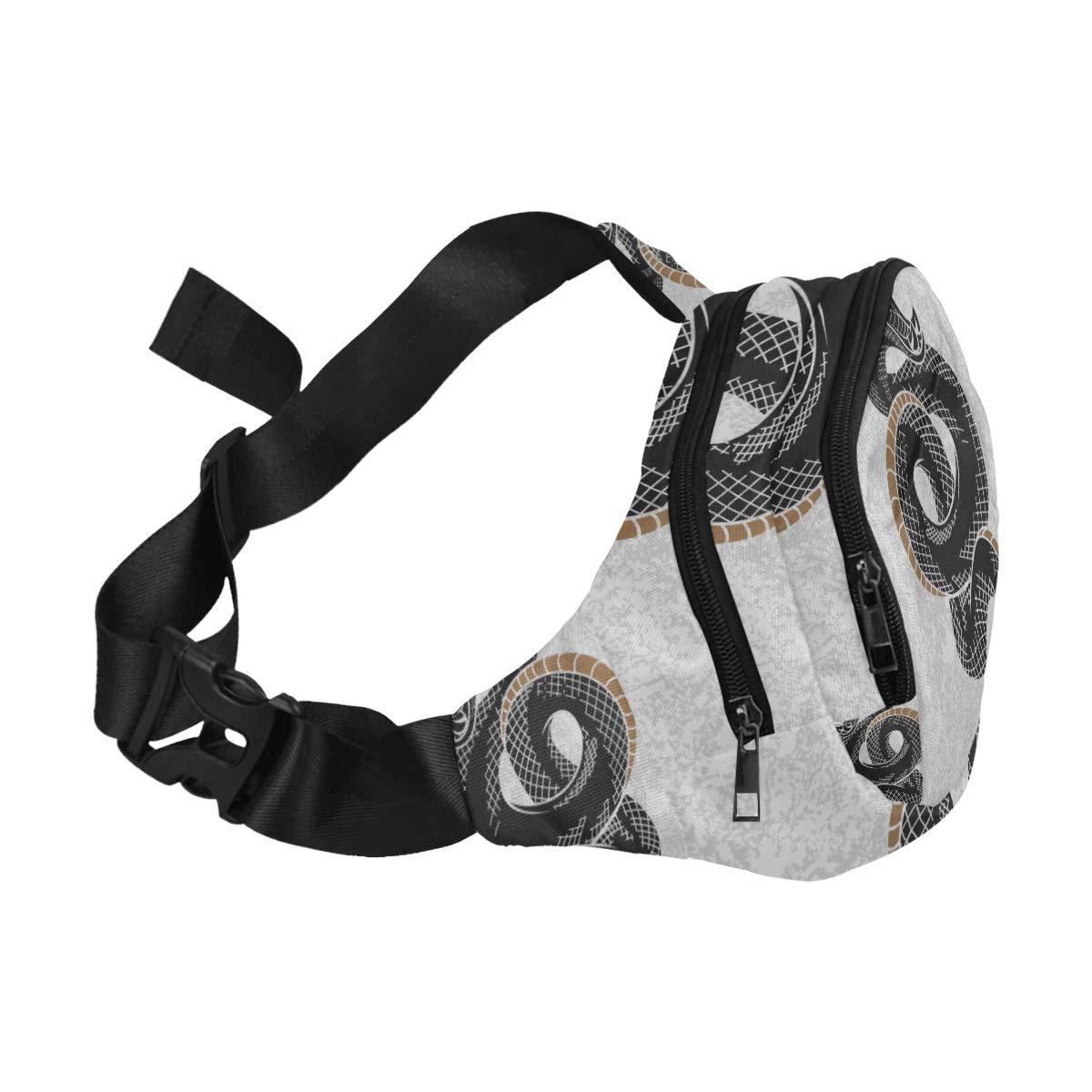 A Fierce Cold-blooded Snake Fenny Packs Waist Bags Adjustable Belt Waterproof Nylon Travel Running Sport Vacation Party For Men Women Boys Girls Kids