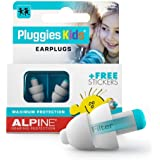 Alpine Pluggies Kids Ear Plugs – Noise Cancelling Ear Buds for Kids Age 5-12 – Ear Plugs for Small Ear Canals – Kids Ear Prot