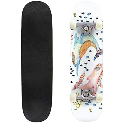 Classic Concave Skateboard Watercolor Pair of Lovely Dolphins Background Childish Dolphins Longboard Maple Deck Extreme Sports and Outdoors Double Kick Trick for Beginners and Professionals : Sports & Outdoors