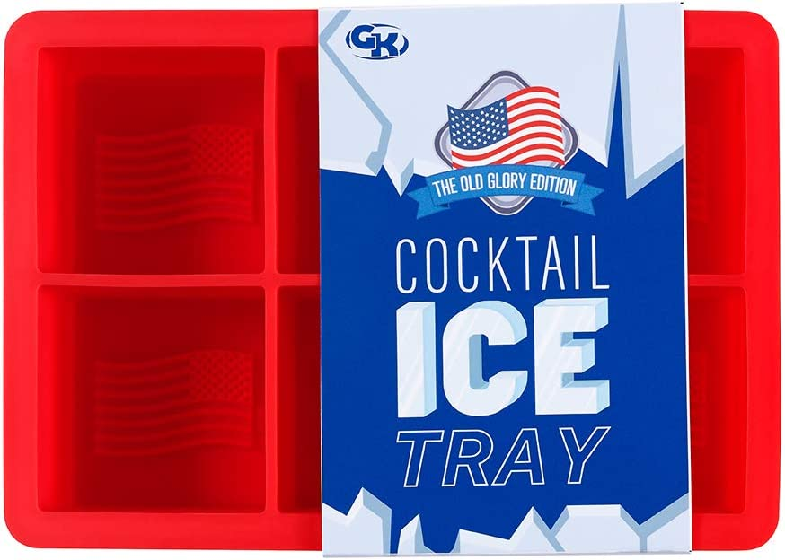 """GenKool Silicone Ice Cube Tray American Flag """"Old Glory Edition"""" Slower Melting, Less Dilution - Square Mold for Freezer Makes 6 Large 2-Inch Cubes for Cocktails"""