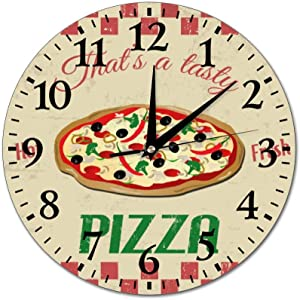 Mesllings Wall Clocks Pizza Round Glass Wall Clock, Wall Decor Clocks for Kitchen, Office, Retro Hanging Clock, Home Decor Accessories