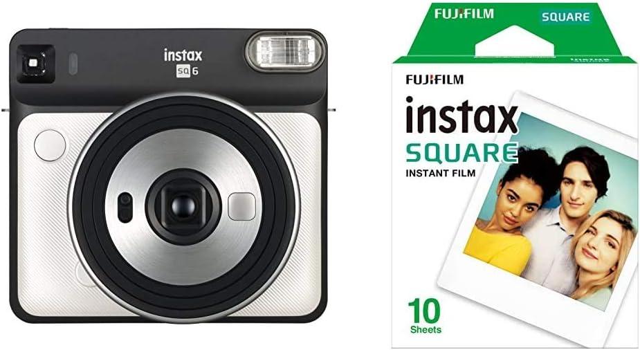 Fujifilm Instax SQ6 - Cámara analógica instantánea formato cuadrado + Pack de 10 fotografías, color blanco: Amazon.es: Electrónica
