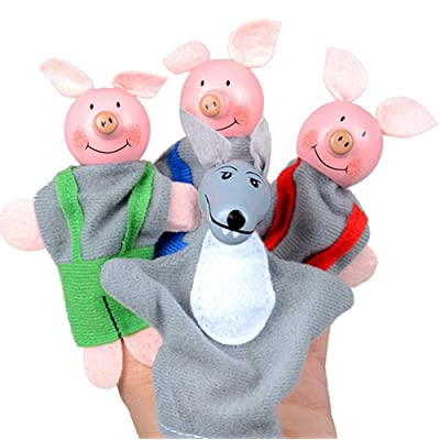 Jinjin 4Pcs Three Little Pigs and Wolf Finger Puppets Children's Educational Toys Mom and Dad Come with Your Baby Interaction Christmas Gifts (Random) : Baby