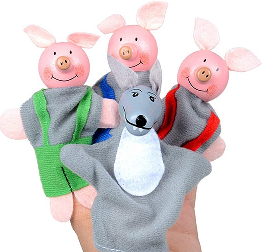 4 Pcs//set Three Little Pigs Finger Puppets Wooden Headed Baby Educational Toy