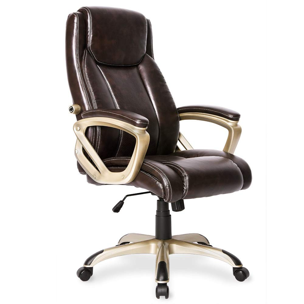 PU Leather Executive Office Chair Desk Task Computer Chair Swivel High Back Chair with Ergonomic Adjustable Lumbar Support Champagne in Brown