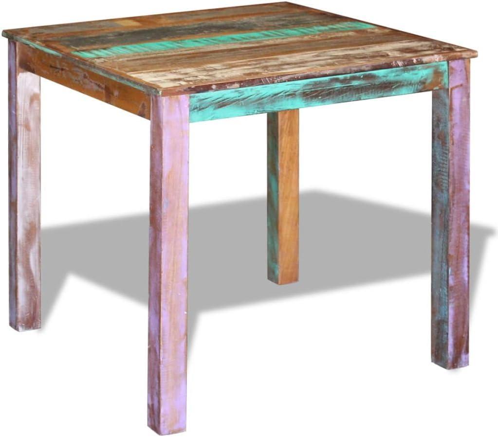 Vislone Tavolo da Sala da Pranzo Quadrato,Tavolo da Cucian Quadrato in Legno Massello Recuperato 80x82x76 cm