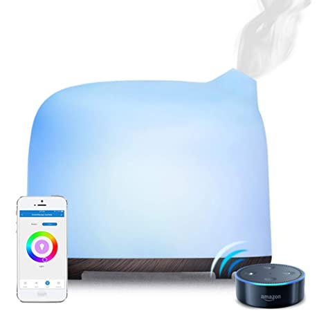 Smart WiFi Essential Oil Diffuser Glass Electric SPA Humidifier Support Google Alexa with RGB Light,Gifts for Mum