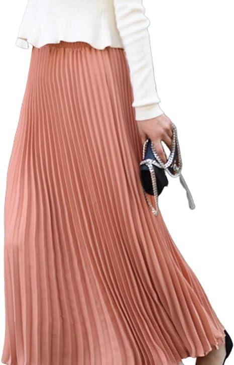 GL SUIT Falda Plisada Midi para Mujer Falda Plisada Larga de una ...