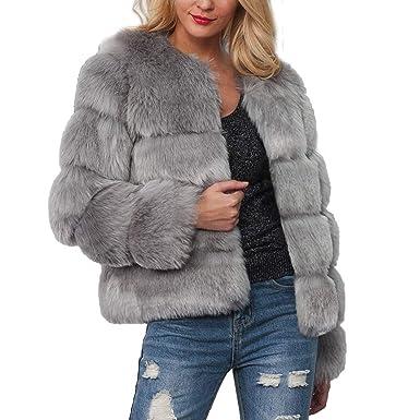 0d91ca4ed5 LINK Womens Warm Faux Fur Coat Jacket Solid Winter Gradient Parka Outerwear  (Gray, XL): Amazon.co.uk: Clothing