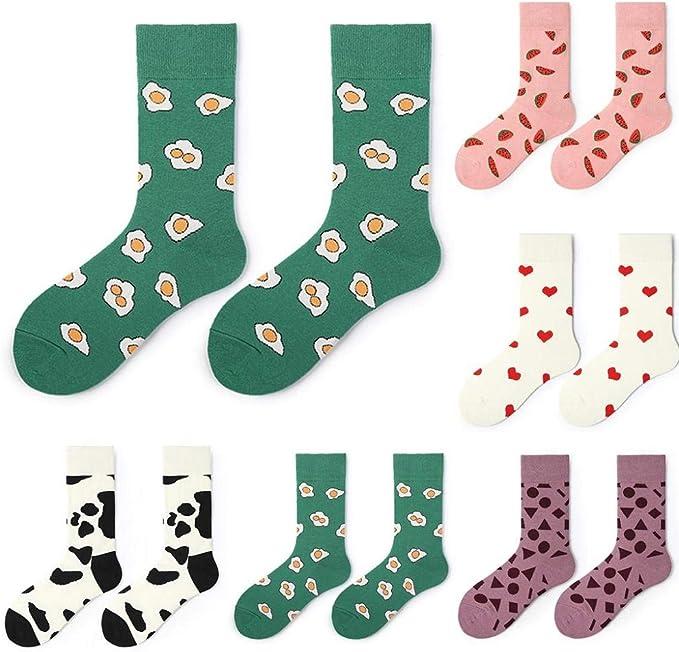 VJGOAL Calcetines de algodón para mujer Calcetines de medio tubo de impresión de moda Calcetines deportivos cómodos y transpirables: Amazon.es: Ropa y accesorios