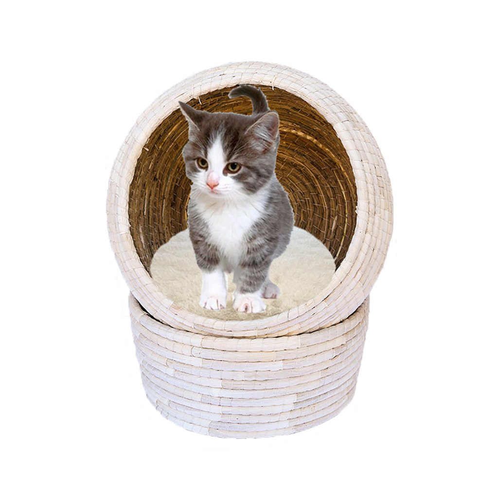 QIAIQQ Wicker Woven Pet House Fashion Minimalism Straw Kennel Handmade Breathable Environmental Predection Cat Nest Moisture-Proof Thicken Wear-Resistant Pet Bed Soft Comfortable Dogs Cushion