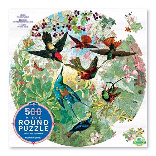 eeBoo Hummingbirds Round Jigsaw Puzzle, 500 Pieces
