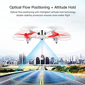 METAKOO X300 RC Toy Drone with Wide-angle 720P HD Camera, Optical Flow Positioning, Altitude Hold Big Outdoor Helicopter, Quadcopter with LCD, 3D Flips, Headless Mode and One-key Landing/Taking off by METAKOO