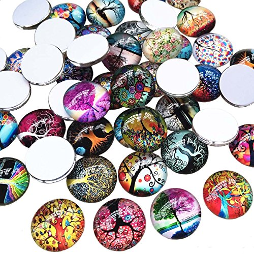 Stone Button - Qingxi Charm 20pcs 20mm Glass Flatback Button Printed Life Tree Button Tree of Life Glass Gemstone Cabochons DIY Phonecover Scrapbook Jewelry Necklace Making Charms (Life Tree,20mm,20pcs)