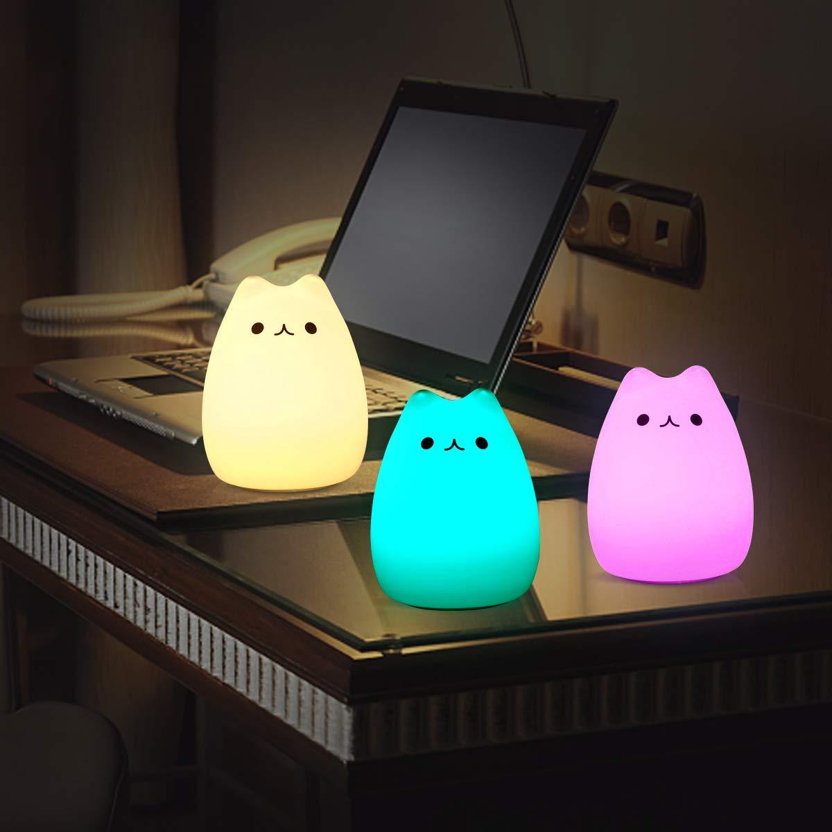 Wohnr/äume Dimmbar f/ür Kinderzimmer 5 Lichtmodi IDESION LED Nachtlicht Kinder,Nachttischlampe Touch Lampe,Nachtleuchte LED Schlummerleuchte Katzenform,16 Farbm/öglichkeiten Schlafzimmer