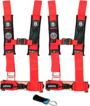 "Pro Armor 4 Point Harness 2/"" Pads Seat Belt PAIR ORANGE Polaris RZR XP1000 1KXP"
