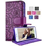 Huawei (Google) Nexus 6P Case,Vandot Luxury PU leather Flip Folio Stand Magnetic Closure Camellia Flower Wallet Bumper Case Anti-scratch Shock-Absorption Cover Pattern with Card Slots + Detachable Wrist Strap -Purple