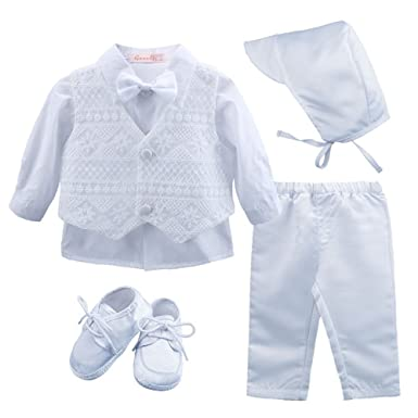 1fbc29f56cba Amazon.com  Baby Boy s 5 Pcs Set White Christening Baptism Outfits ...