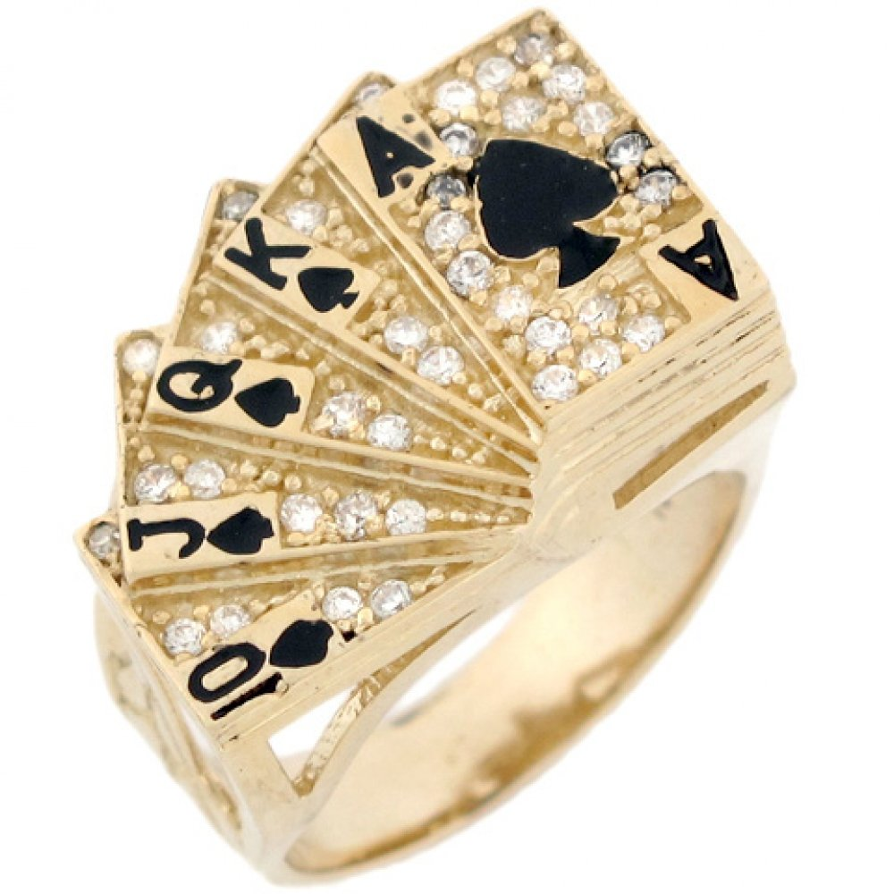 10k Real Solid Gold CZ Royal Flush Poker Card Enamel Lucky Mens Ring by Jewelry Liquidation