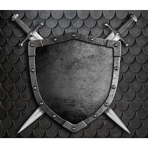 (Pitaara Box PB Medieval Shield Peel & Stick Vinyl Wall Sticker 27.7 x 24inch)