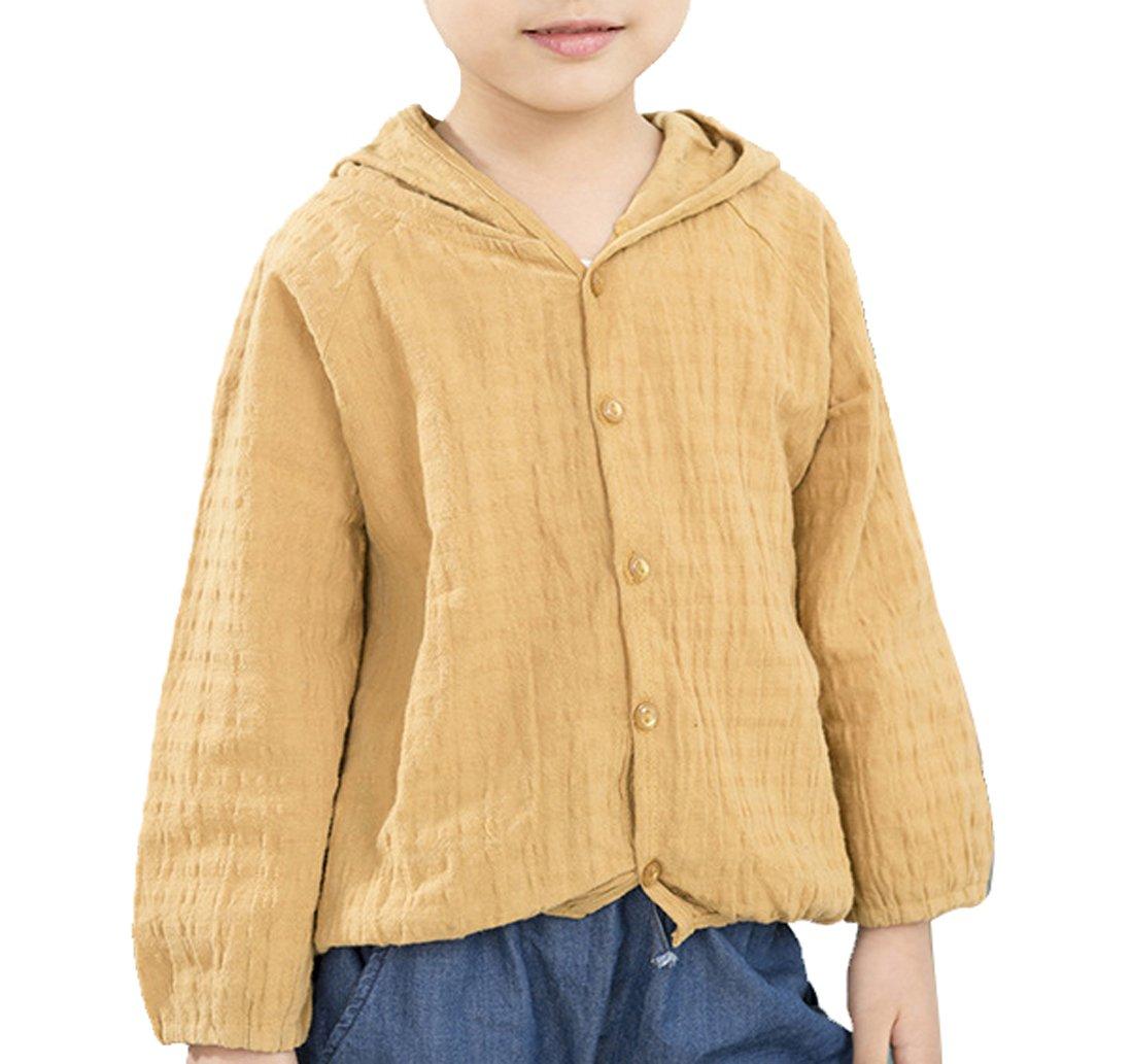 Qinni-shop Little Girls Hooded Cardigan Lightweight Long Sleeve Summer Jacket (Yellow, 2T)