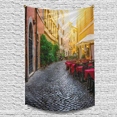 INTERESTPRINT European Italian City Cozy Old Street Courtyard in Rome Tapestry Wall Hanging Tapestries Wall Art Home Decor for Bedroom Living Room Dorm, 60W X 90L Inch