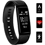 Fitness Tracker,Teetox 0.96Inch OLED Heart Rate Monitor Smart Wristband Swimming Activity Tracker Smart Bracelet with Step Tracker/Calorie Counter/Sleep Monitor for iPhone iOS and Android Phone,Black