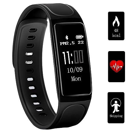 amazon com teetox fitness tracker 0 96inch oled heart rate monitor