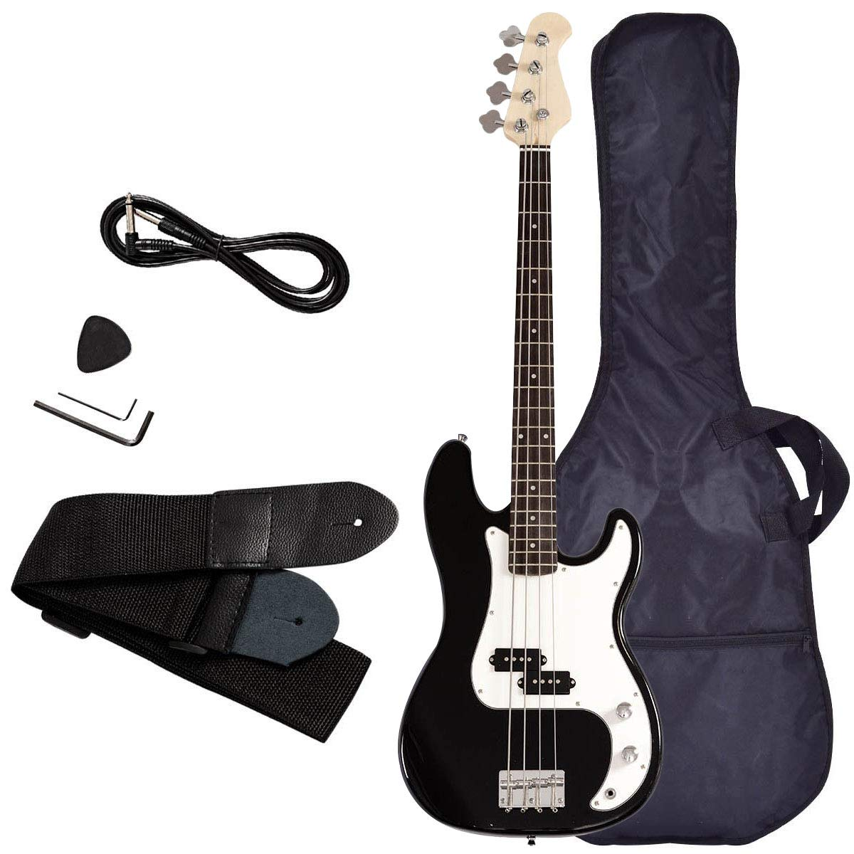 Electric Bass Guitar, Safeplus Starters Acoustic Guitar Full Size 4 String Package with Guitar Bag, Strap, Guitar pick, Amp cord by Safeplus